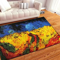 4x6 Canvas rugs Oil painting Carpet Art rugs for bedroom / living room / home #JACKSON #Modern