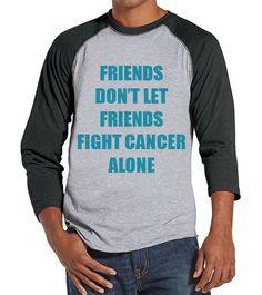 Men's Friends Fight Cancer Shirt - Team Race Shirts - Cancer Awareness - Grey Raglan Shirt - Men's Grey Baseball Tee - Running Shirt