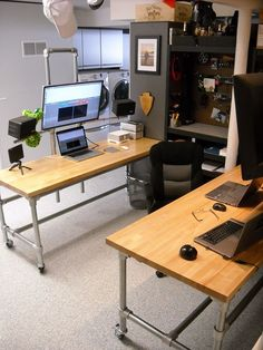 Dual Pole Mounted Monitor Desk-justin would love the multiple systems