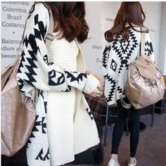 2014 free shipping new style autumn and  winter casual loose coat geometric patterns loose knit sweater 6565