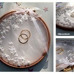 Porte alliances , coussin de mariage romantique, tambour à broder Hand Embroidery Patterns Free, Embroidery Hoop Crafts, Ring Holder Wedding, Ring Pillow Wedding, Wedding Boxes, Tree Wedding, Engagement Decorations, Wedding Decorations, Matching Promise Rings