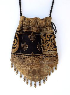Gypsy Bag with Brass Beads Black and Gold Chenille Hippie Bag Boho Bead Bag Cross Body Bag Hippie Bags, Boho Bags, Gypsy Bag, How To Make Purses, Carpet Bag, Handmade Purses, String Bag, Patchwork Bags, Beaded Bags