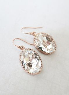 Rose Gold FILLED Swarovski Crystal Clear Oval Crystal Earrings, wedding bridal earrings, bridal bridesmaid gifts, pink gold weddings, www.colormemissy.com