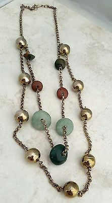 Vintage Multi-strand Green and Coral Stone Bead Necklace Boho Chic