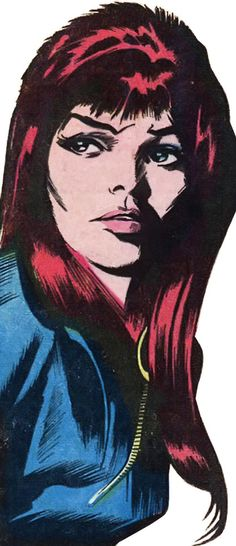 A 1970 portrait of the Black Widow by the great Gene Colan, with detouring and light reconstruction -- again for the http://www.writeups.org/fiche.php?id=3608 upgrade. It's a wonderful shot.