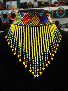 African Maasai Beaded Choker Necklace, African Choker, Multicolored Necklace, One Size Fits All, Gif African Beads Necklace, Beaded Choker Necklace, African Jewelry, Necklaces, Fringe Necklace, Bead Crochet Patterns, Beaded Jewelry Patterns, Handmade Beads, Handmade Jewelry