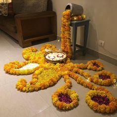 50 Most Beautiful Flower Rangoli Designs (ideas) that you can make during any occasion on the living room or courtyard floors. Rangoli Designs Latest, Rangoli Designs Flower, Colorful Rangoli Designs, Rangoli Designs Images, Flower Rangoli, Beautiful Rangoli Designs, Lotus Rangoli, Happy Diwali Rangoli, Diya Rangoli