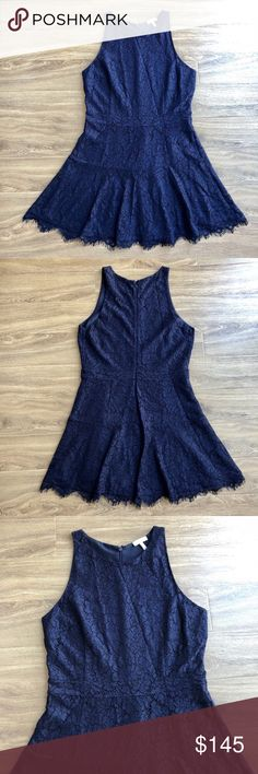 "NWOT Joie Adisa sleeveless floral lace dress 10 A classy navy lace dress captivates the audience of every room you enter.  NWOT Adisa style Crew neck Sleeveless Hidden back zipper with hook and eye closure Ruffled scalloped hem Allover navy lace Lined Bust: 18"" approx. laying flat Length: 35"" approx. laying flat Shell: 38% rayon, 36% nylon, 26% cotton Lining: 100% polyester Dry clean  Bundle discount No trades Smoke free, pet friendly home Joie Dresses Mini"