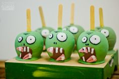Caramel apples at a Plants vs. Zombies birthday party! See more party ideas at CatchMyParty.com!