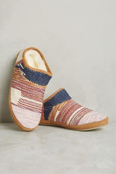 Slide View: 1: Embroidered Cozy Slippers