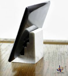 """iPad Docking Station of white Carrara marble Model MRS08 """"Bernini"""" Practical and stylish docking station for iPad or Tablet. Modern iPad Desk Stand and Tablet Stand for Home or Office."""