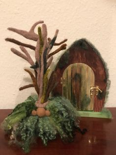 Needle Felted Magical Woodland Tomte/ Gnome with hand painted Fairy door.Natural Wool,Ornamental Nor Quirky Gifts, Unusual Gifts, Felt Gifts, Scandinavian Gnomes, Needle Felted, Felting, Wooden Hand, Soft Sculpture, Sculptures