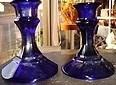 Cobalt Blue Art Glass Candlesticks Pair