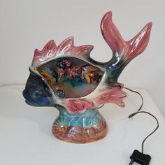 Vintage french Vallauris ceramic fish lamp