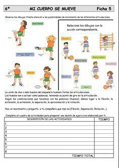 Movimientos de partes del cuerpo Class Activities, Yoga For Kids, Spanish Class, Worksheets, Anatomy, Science, Teaching, Education, School