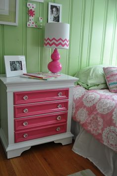 Paint drawers bright color to contrast white dresser.