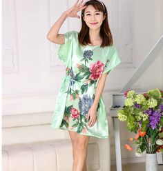 20 color imitated Silk Butterfly Pattern Sleepwear Gown Dress Pajamas Robe  Women night dress Summer Pajamas cf24bf5e9