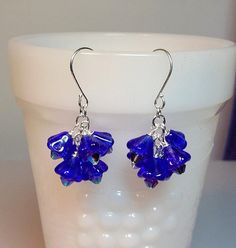 Royal Blue Flower Crystal Cluster Earrings, Christmas Mom Sister Bridesmaid Girlfriend Jewelry Gift, Cocktail