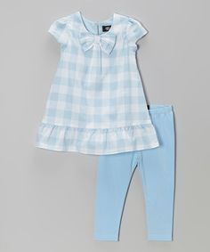 Look at this #zulilyfind! Blue Gingham Bow Tunic & Leggings - Infant, Toddler & Girls #zulilyfinds