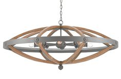 Currey & Co./wood and metal chandelier