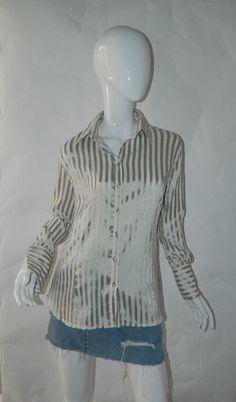 6829390d132f 21.99   Women's Zara Shirt Gold and White Shirt Long Sleeve Size Large ❤ #