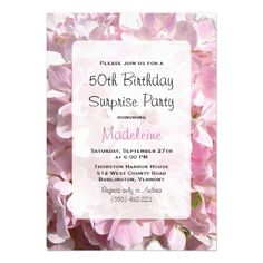 Pink Birthday Invitations Pink Floral Surprise Birthday Party Card
