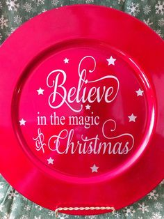Charger with Believe in the magic of Christmas = includes plate stand by CasdelCreations on Etsy