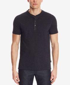 Boss Men's Slim-Fit Henley T-Shirt - Blue L