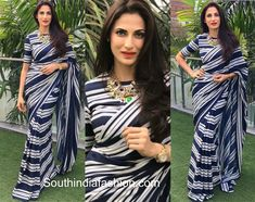 Shilpa Reddy in striped saree Wedding Saree Blouse, Saree Dress, Saree Styles, Blouse Styles, Saree Designs Party Wear, Modern Saree, Blouse Designs Silk, Plain Saree, Simple Sarees
