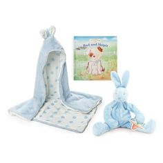 Infant Boy's Bunnies By The Bay Hooded Blanket, Stuffed Animal & Board... (7695 RSD) ❤ liked on Polyvore featuring home, children's room, children's bedding, baby bedding and baby blue