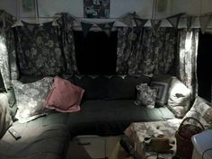 Caravan revamp, painted cupboards and new handmade curtains and covers. Janey 2014