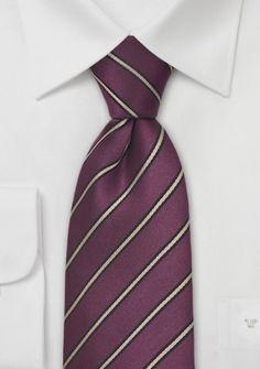 Krawatte Streifen purpur creme