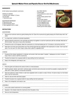 Spinach-Walnut Pesto and Pignolia Cheese-Stuffed Mushrooms (vegan, oil-free). Great for appetizer!