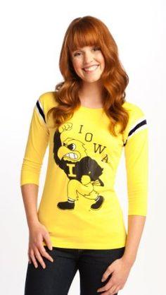 Amazon.com: NCAA Iowa Hawkeyes 3/4 Sleeve Football Tee Women's: Clothing