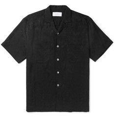 Second/LayerCamp-Collar Floral-Jacquard Shirt