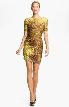 Halston Heritage Dresses Print Pleated Dress   Nordstrom