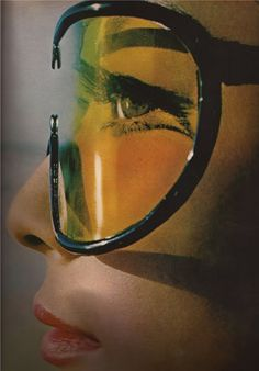 Harper's Bazaar, 1965.  Wow 'cat-eye' with downward wing....60's unique & a little 0ver-the-Top...like that era.