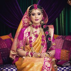 Pinky on her holud ceremony. looking gorgeous and royal in this attire ❤️ Photographer - Makeup - Event planner - Jewelries by me 🙋🏼 # Bengali Wedding, Bengali Bride, Desi Bride, Desi Wedding, Indian Bridal, Wedding Bride, Bridal Outfits, Bridal Dresses, Haldi Ceremony