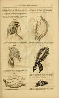 Godey's lady's book 1861 ; Fig. 5 more elaborate cap of embroidered cambric, bow and strings of colored ribbon. Fig. 6: Dress cap of tulle and blonde, with bunches of blush roses without foliage