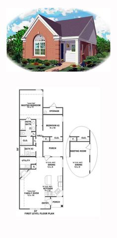 Narrow Lot House Plan 46340 | Total Living Area: 1057 sq. ft., 2 bedrooms and 2 bathrooms. #narrowlot