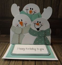 My sweet daughter-in-law and I made some fun Winter birthday cards together!  Same card . . . different colors.  This is the card my daug...