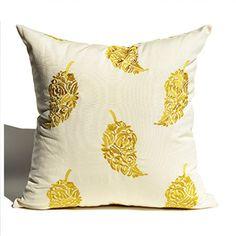 Flowers leaves embroidered pillows for couch Chinoiserie sofa cushions