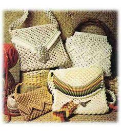 14 Macrame Handbags & 1 Keychain Pattern & Instructions Knotting Diagrams Handmade Purses Strings 6112