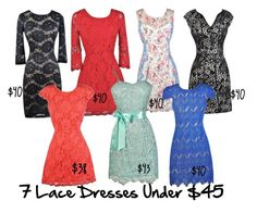 """""""7 Lace Dresses Under $45"""" by lilyboutique ❤ liked on Polyvore featuring lace and LilyBoutique"""