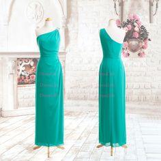 Custom-made 100% guarantee One Shoulder Chiffon Floor Length Prom Dresses Evening Dress/Custom Colour/Custom Size