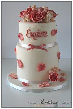 Τούρτα Ζαχαρόπαστα με Τριαντάφυλλα   Sugarpaste Cake with Roses
