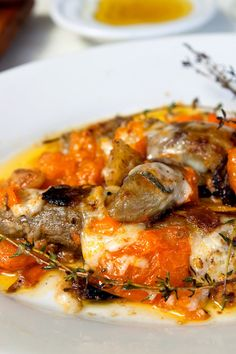 Roasted Japanese Eggplant w. Crushed Tomato, Pecorino, &Thyme [use garlic inflused oil for Low FODMAP]