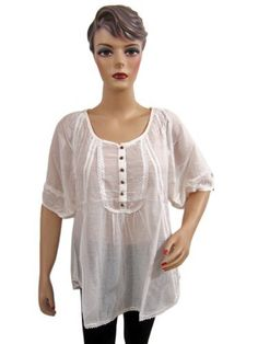 5113b6e60705ed Womens Fashion Kurta White Lace Work Cotton Kurti Tunic Top Large Size  Mogul Interior