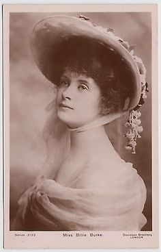POSTCARD - beautiful Edwardian actress Billie Burke, lovely close up in bonnet