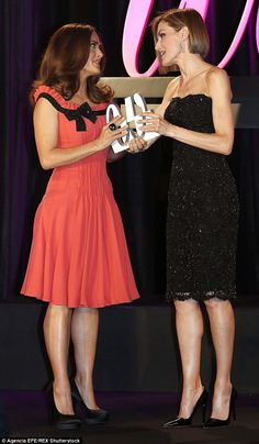 The Spanish Queen looked slick and glamorous  tonight as she honoured Salma Hayek with an award